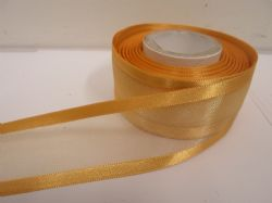 Yellow Gold satin edged organza ribbon, 2 or 25 metres, Double sided, 10mm, 15mm, 25mm, 40mm, 70mm